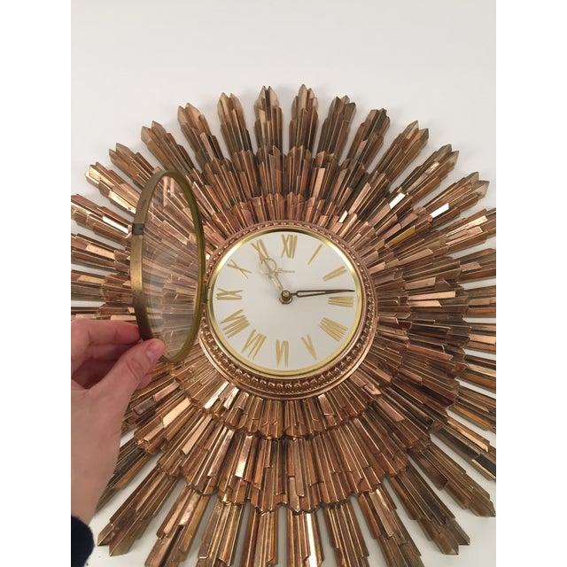 Mid-Century Syroco Sunburst Wall Clock - Image 7 of 11