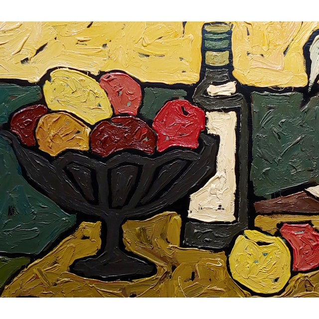 """1960s """"Still Life of Fruits"""" 1960s French Oil Painting by Bernet For Sale - Image 5 of 10"""