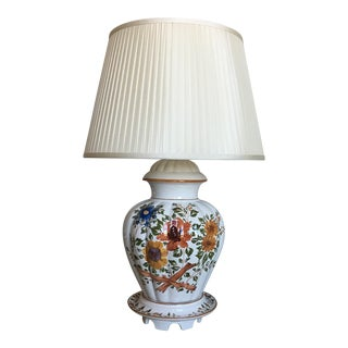 1950s Hand-Painted Italian Lamp & Shade For Sale