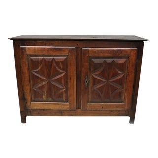 17th Century Baroque Carved Walnut Two Door Credenza For Sale