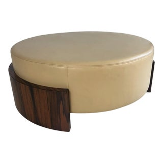"Contemporary Dessin Fournir ""Savenburn"" Round Leather Ottoman For Sale"
