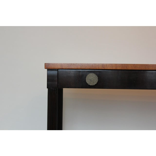 1940s 1940s Vintage Lattice Side and Reeded Leg Mahogany Console Table For Sale - Image 5 of 7