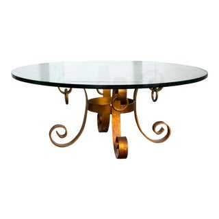 "Gold Baroque Wrought Iron Base Glass Coffee Table 40"" For Sale"