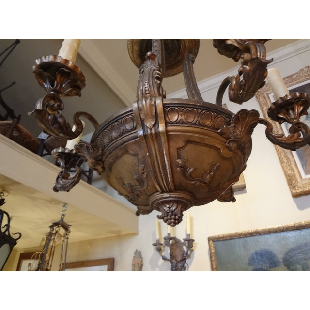 French Iron and Carved Wood Chandelier For Sale - Image 10 of 11