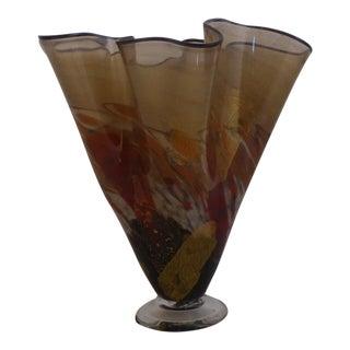Large Fazzoletto Murano Glass Vase