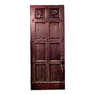 English Renaissance Carved Oak Door For Sale
