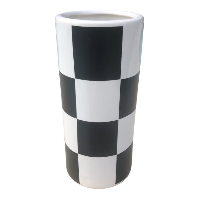 Vintage Haeger Black & White Checkerboard Cylindrical Vase For Sale