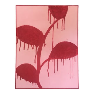 Framed Red Flowers on Pink, Dripping - Acrylic and Sand For Sale