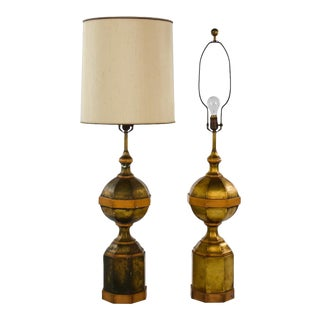 Mid-Century Large Composition Newel Post-Style Table Lamps - a Pair For Sale