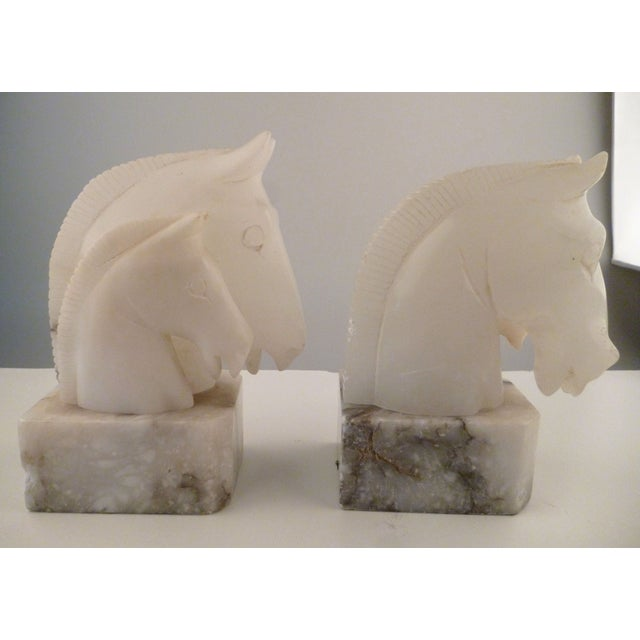 Alabaster Horse Bookends on Marble Bases - Pair - Image 9 of 11