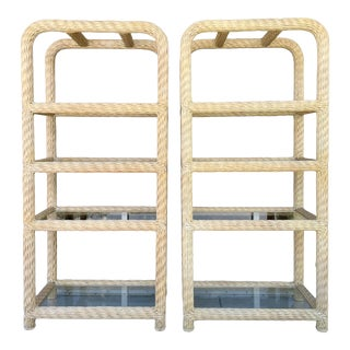 Waterfall Rattan Etageres From 80's - a Pair For Sale