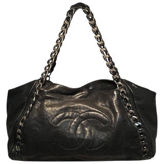 Chanel Black Leather and Chain Shoulder Bag Tote For Sale