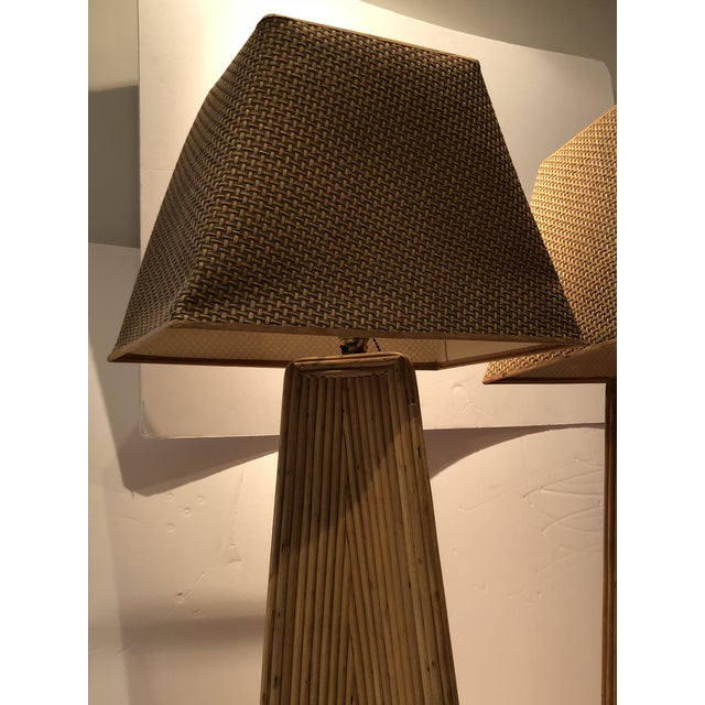 1950s Vintage Palm Springs Style Tall Rattan Lamps - a Pair For Sale - Image 5 of 11