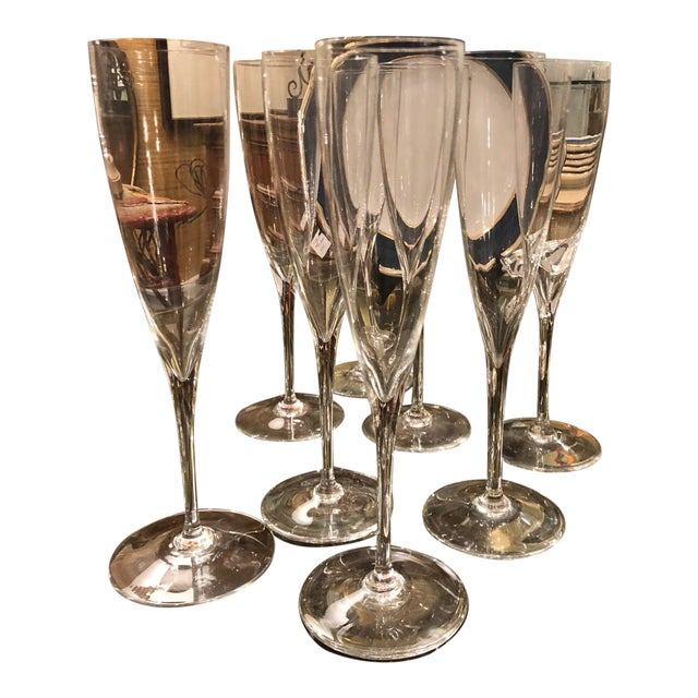 Set of 8 Signed Baccarat Crystal White Wine Stems - Dom Perignon For Sale