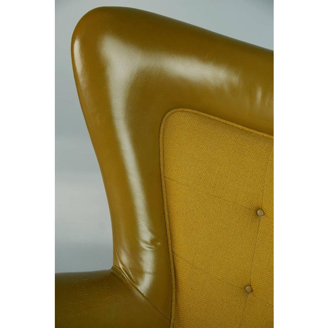 Dramatic Executive Wingback Chair and Ottoman by George Kasparian, Circa 1960 For Sale - Image 10 of 11
