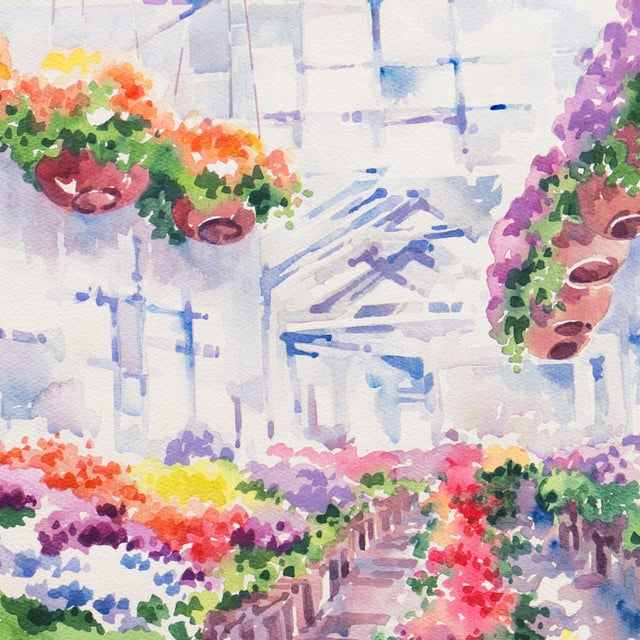 'Flowers in the Greenhouse' by Charlotte Britton, California Woman Artist, American Watercolor Association For Sale - Image 4 of 8