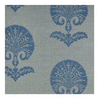 Schumacher Ottoman Flower Sisal Wallpaper in Mineral For Sale