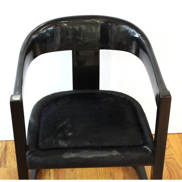 Karl Springer Modern 'Onassis' Black Lacquer Armchairs With Pony Hair Seats For Sale - Image 10 of 12