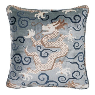 "Chinoiserie Schumacher Bixi Velvet Celestine Two-Sided Pillow - 18""x18"" For Sale"