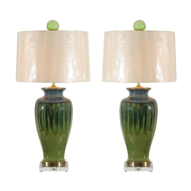 Fantastic Pair of Large-Scale Drip Ceramic Lamps with Blown Glass Finials For Sale - Image 11 of 11