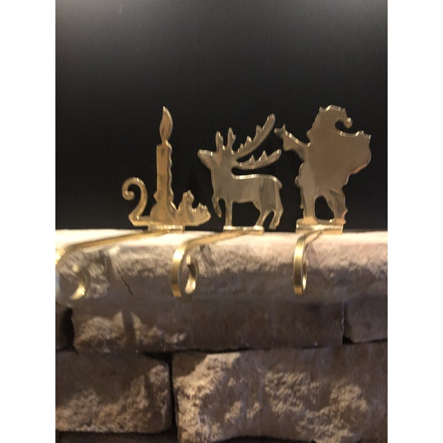 Traditional Vintage Brass Stocking Hooks Santa, Reindeer and Candle Hangers - Set of 3 For Sale - Image 3 of 12