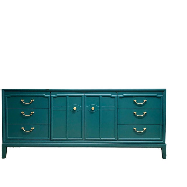 Turquoise 1960s Hollywood Regency Drexel Teal Jewel Tone Buffet For Sale - Image 8 of 8