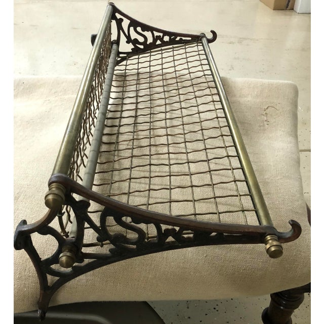 Vintage Heavy Brass Train Luggage Rack With Two Front Hooks