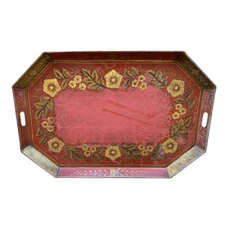 Antique Vintage French Country Large Red Gold Tole Tray For Sale