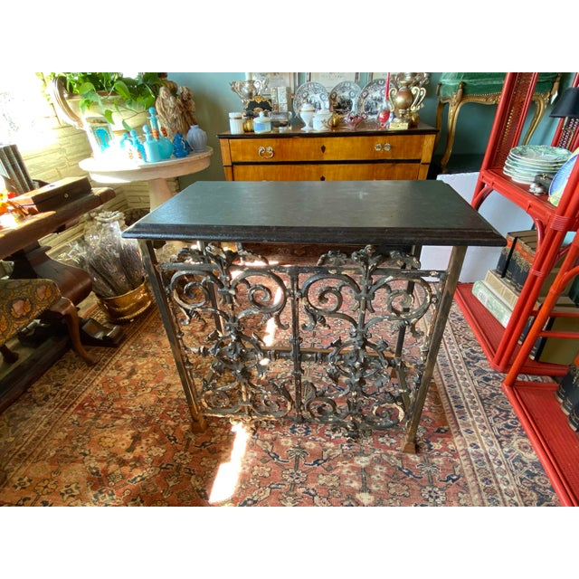 19th Century 19th Century French Iron Console With Marble Top For Sale - Image 5 of 6