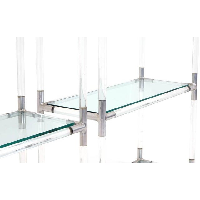 Pair Charles Hollis Jones Style Lucite and Chrome Shelves or Etagere For Sale - Image 4 of 7