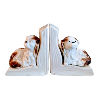 Vintage Rare Staffordshire Ceramic Spaniel Bookends, Signed - a Pair For Sale