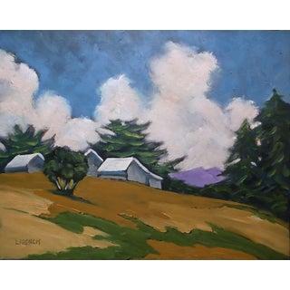 Lynne French California Plein Air Farmhouse Barns Hills Landscape Painting For Sale