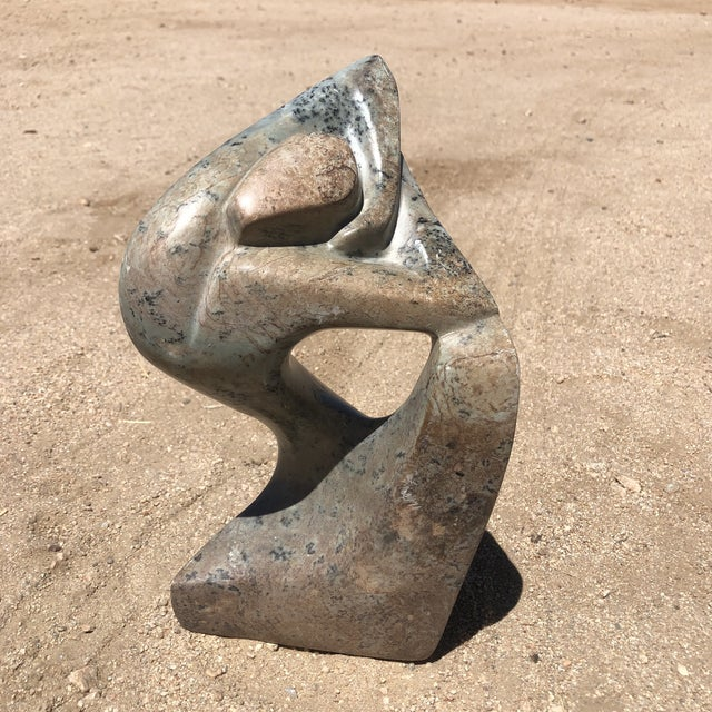 Signed Carved Stone Female Figure Sculpture For Sale - Image 10 of 10