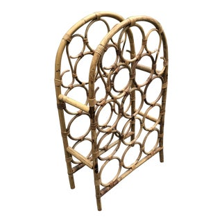 1970s Boho Chic Arched Rattan 12 Bottle Wine Rack For Sale