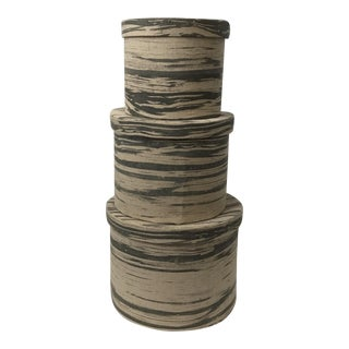 Faux Bois Fabric Nesting Boxes - Set of 3 For Sale