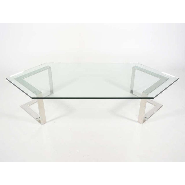 Chrome And Glass Coffee Table By Directional - Image 5 of 10