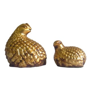 Mid Century Japan Cast Plaster Gold Leaf Finish Quail Bird Figurines - Set of 2 For Sale