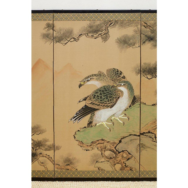 Mid 20th Century Japanese Four Panel Screen of Hawks in Pine Tree For Sale - Image 5 of 13
