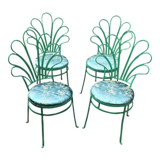 1930s Mid Century Modern Metal Patio Chairs With Chinoiserie Covers - Set of 4 For Sale