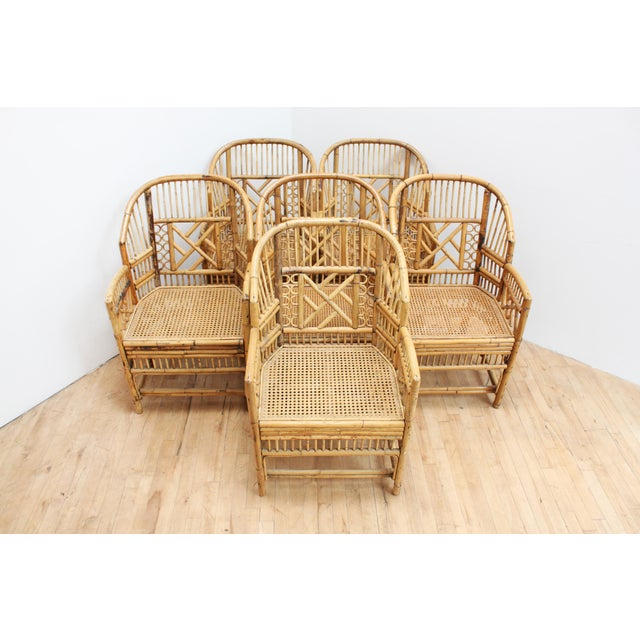 Tan Hand Caned Brighton Pavilion Dining Chairs- Chinese Chippendale Fretwork - Set of 6 For Sale - Image 8 of 8