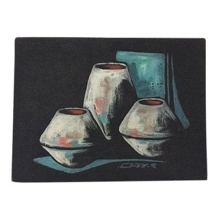 Mid Century Modern Pottery Still Life Oil on Canvas For Sale
