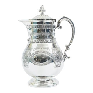 Ornate Exterior Design Details English Silver Plate Tea or Coffee Pot For Sale