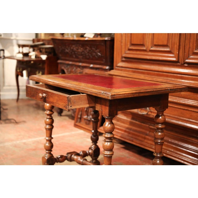19th Century, French, Louis XIII Carved Walnut Table Desk With Red Leather Top For Sale In Dallas - Image 6 of 11