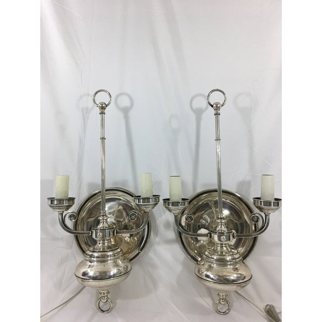 Metal Napoleon III Silver Plate Wall Sconces a Pair For Sale - Image 7 of 9