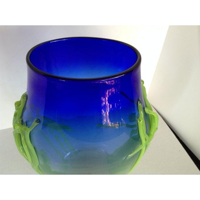Handblown Medium Cobalt Blue Glass Vase - Image 4 of 6