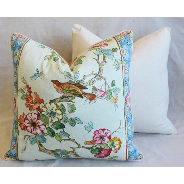 "English Chinoiserie Floral & Birds Feather/Down Pillows 24"" Square - Pair For Sale - Image 11 of 12"