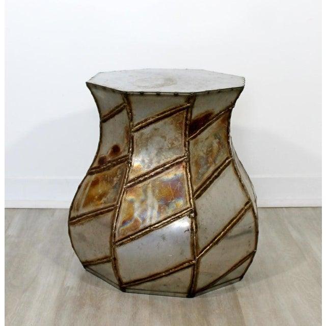 Paul Evans Mid-Century Modern Welded Metal Drum Side End Table C. 1970s For Sale - Image 4 of 6