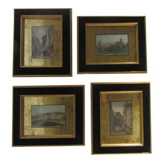 Antique Professionally Framed Hand Colored Etchings From Wj Sloane and Co. - Set of 4 For Sale