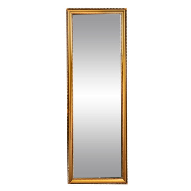 Vintage tall gold dressing mirror chairish for Tall gold mirror