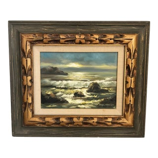 Vintage Ocean Oil Painting in a Carved Wood Frame For Sale
